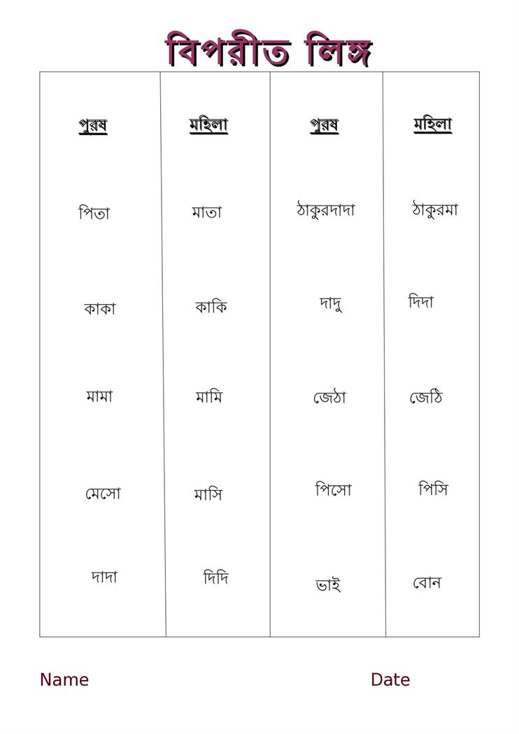 Bengali Worksheet - opposite words