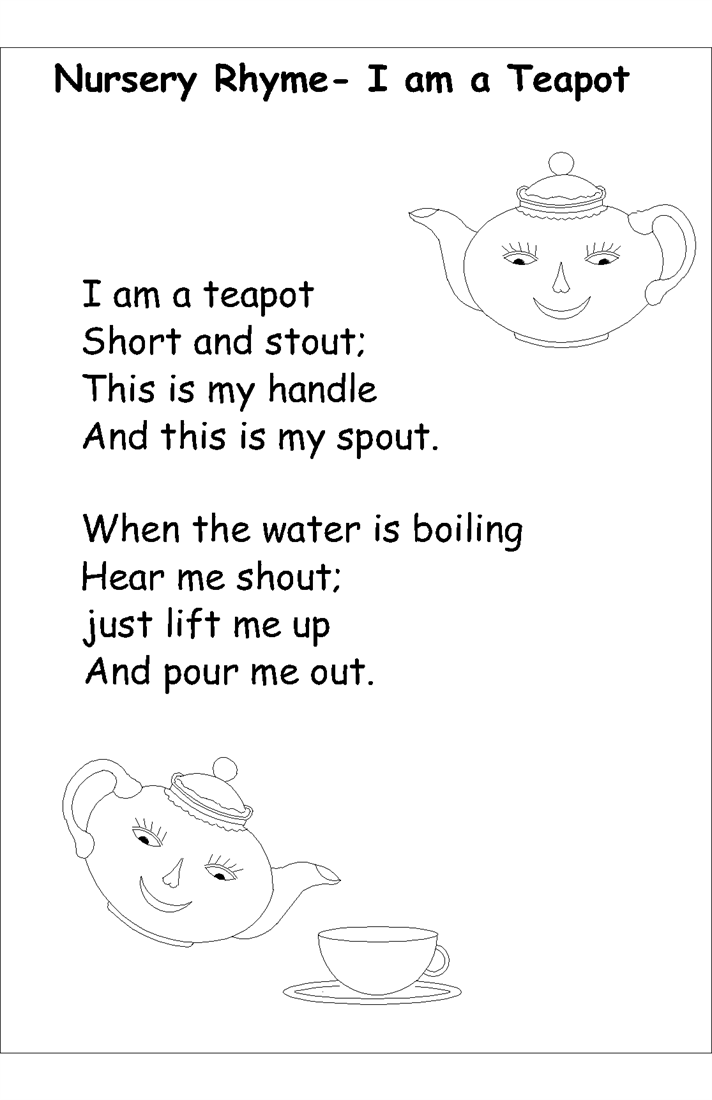 Nursery rhyme coloring pages- I am a tea pot