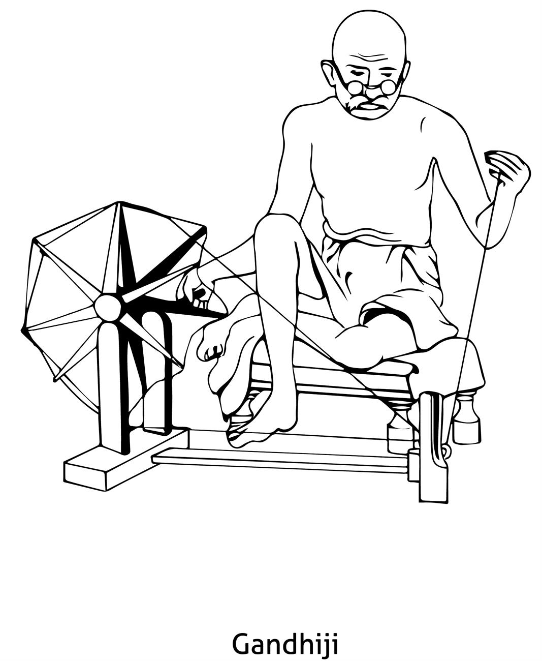 gandhiji standing coloring pages - photo#10